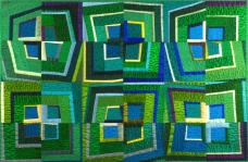 "Green Silk Squares - 35.5"" x 23.5"" $420"