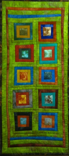 "Small Quilt - Green Log Cabin - 11.5""x24"" - $140"