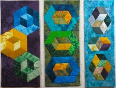 "Small Quilt - Three Cubes - 30"" x 25"" - $450"