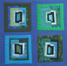 "Small Quilt - Blue Squares - 15""x14"" - $105"