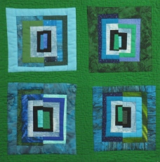 "Small Quilt - Green Squares - 16""x15.75"" - $125"