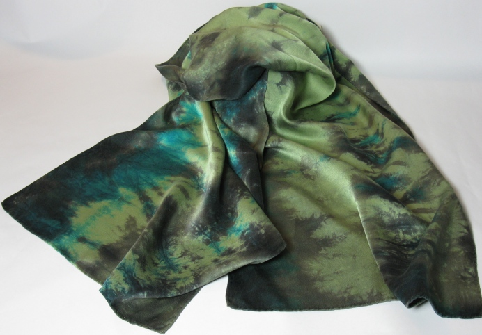 "Deep Sea Green 100% Silk - 14"" x 58"" - $80"